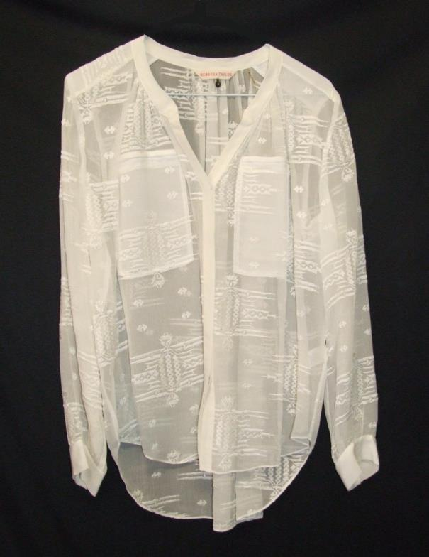 Lot 456 - Rebecca Taylor White Silk Blouse, labelled size 4 CONDITION REPORT has a very, very feint mark to