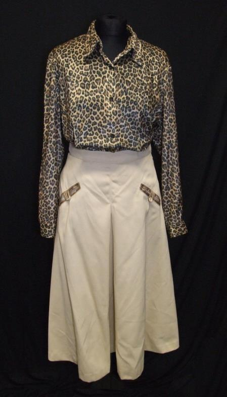 Lot 410 - Ladies Vintage Clothing: Soleil floral wrap-over skirt, Jaeger polka dot blouse, Express yellow silk