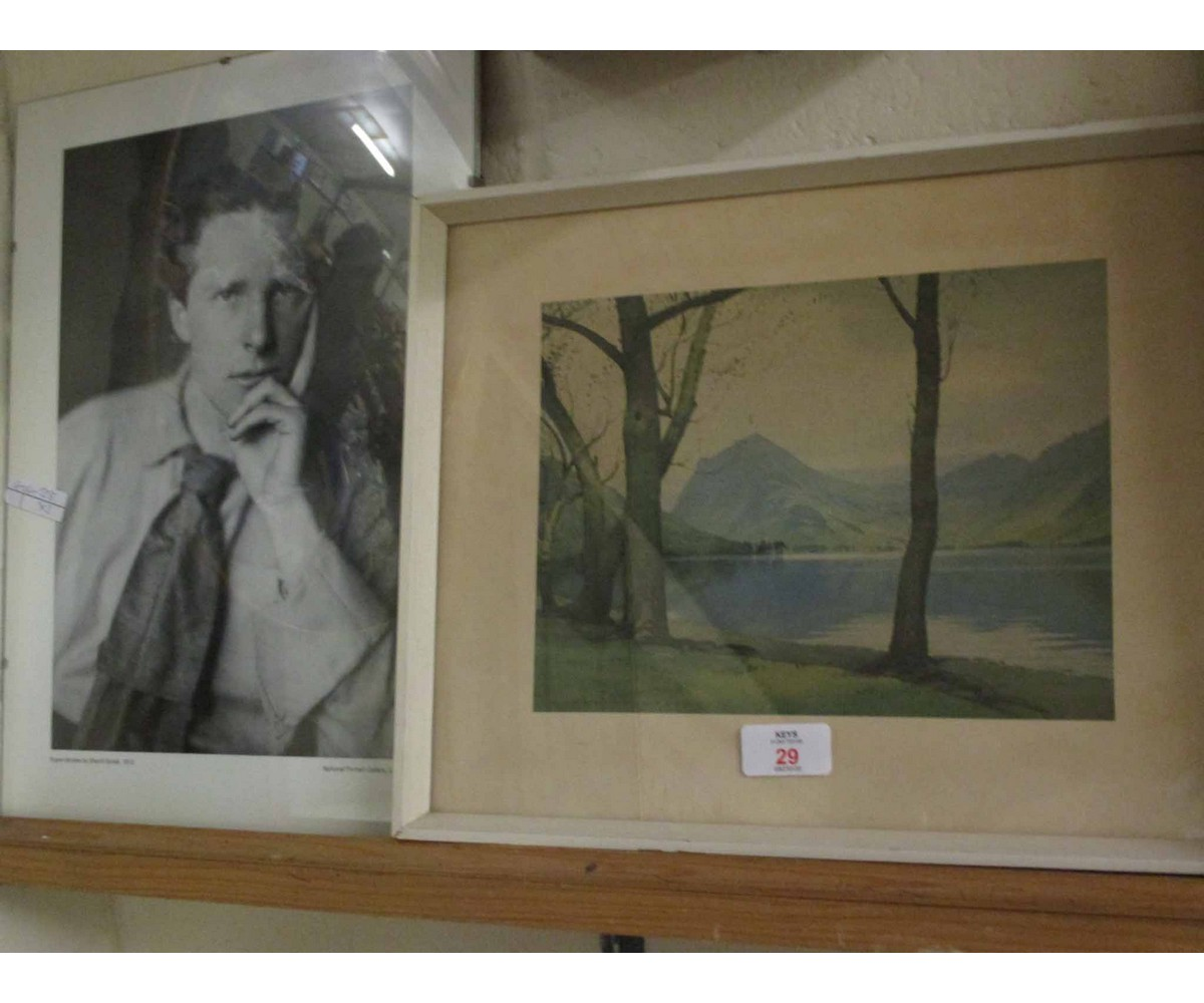 Lot 29 - FRAMED PICTURE OF RUPERT BROOKE FROM THE NATIONAL PORTRAIT GALLERY, TOGETHER WITH