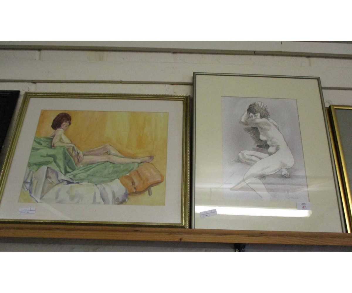 Lot 47 - PRINT BY DAVID KILLICK OF A NUDE, AND A WATERCOLOUR OF A NUDE LADY RECLINING ON A BED (2)