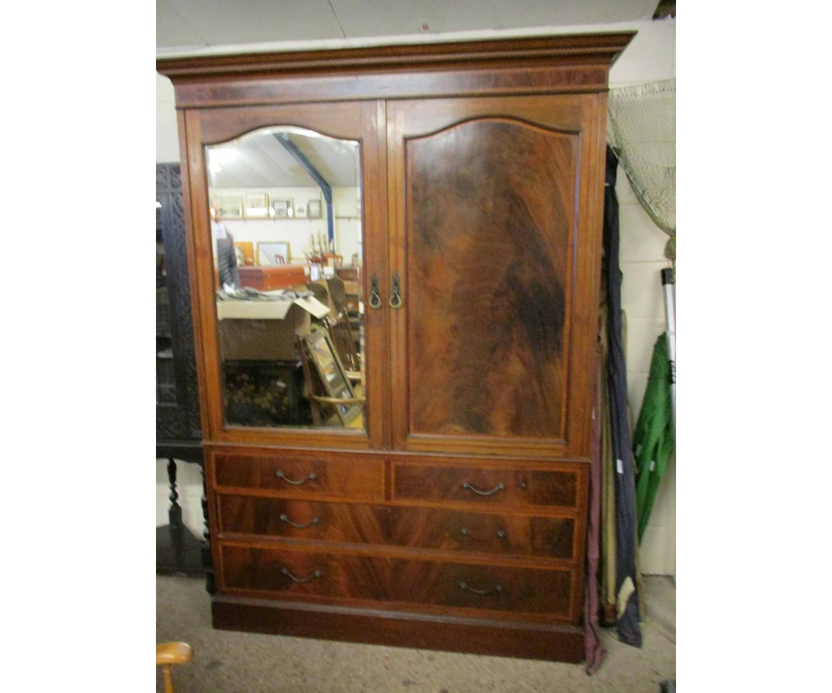 Lot 15 - EDWARDIAN MAHOGANY AND SATINWOOD BANDED WARDROBE WITH ONE MIRRORED DOOR AND PANELLED DOOR ABOVE