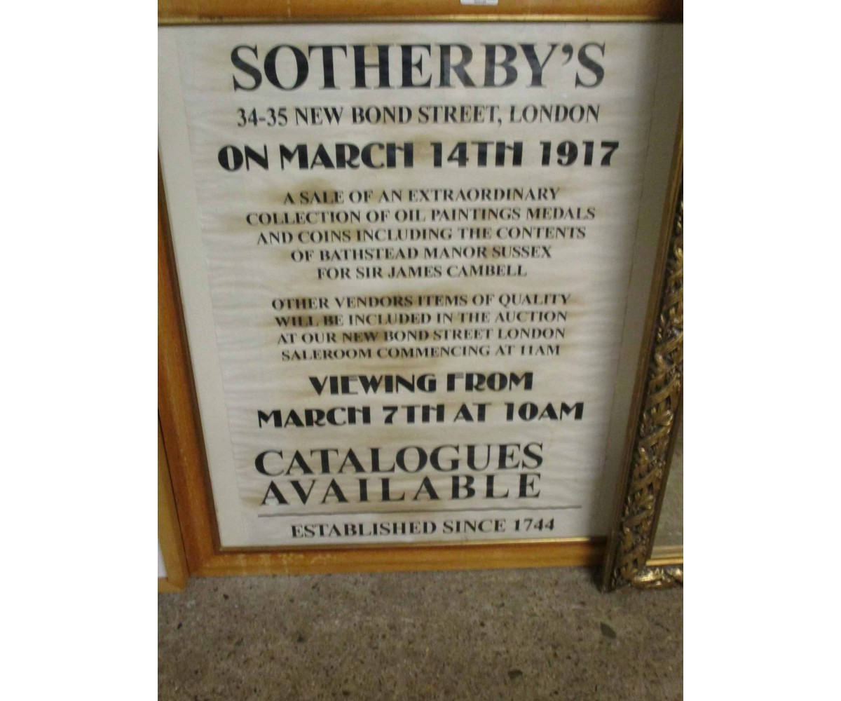 Lot 56 - FRAMED SOTHERBY'S AUCTION ADVERTISING POSTER