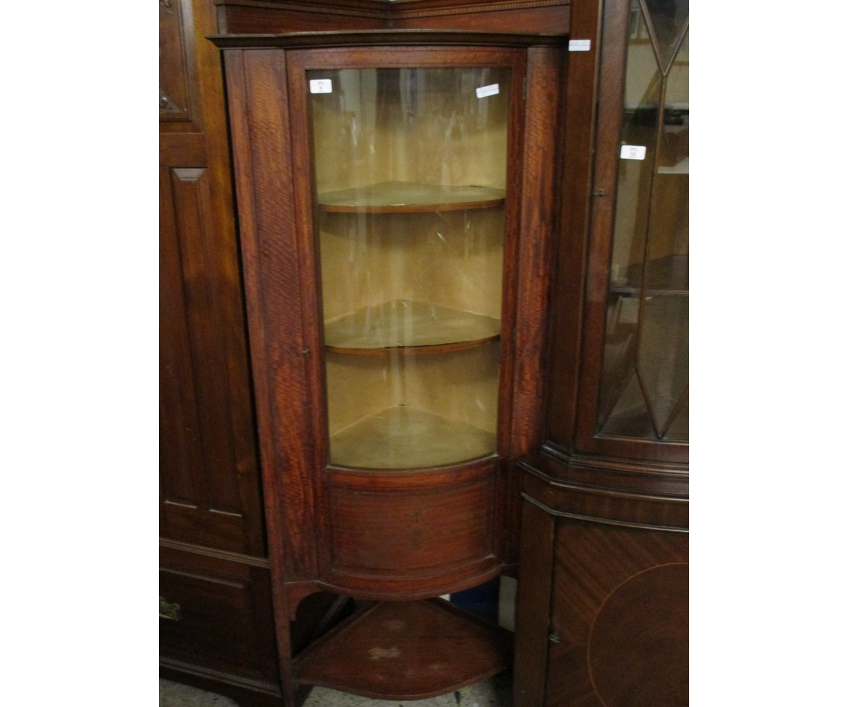 Lot 9 - MAHOGANY INLAID BOW FRONTED CORNER CUPBOARD WITH SINGLE GLAZED DOOR WITH OPEN SHELF