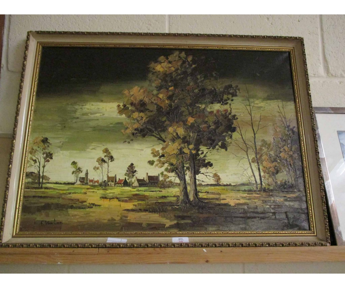 Lot 30 - OIL ON CANVAS OF A COUNTRY SCENE BY F VAN LOO