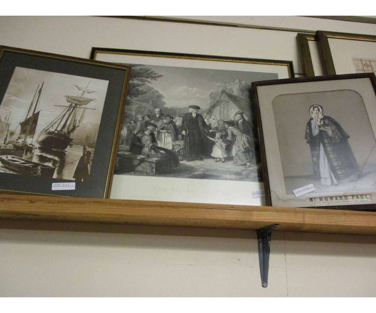 "Lot 59 - VINTAGE PHOTOGRAPH OF SHIPS TOGETHER WITH A FURTHER PRINT ""THE VILLAGE PASTOR"" AND ONE OTHER (3)"