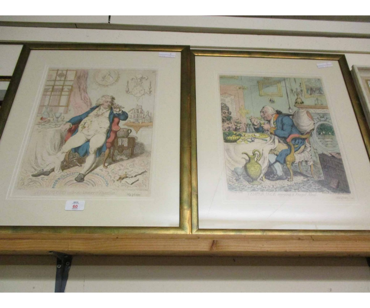 Lot 60 - TWO GILT FRAMED COLOURED VICTORIAN TYPE PRINTS