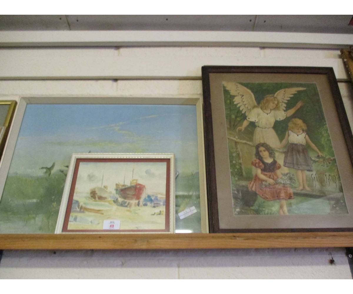 Lot 49 - SMALL WATERCOLOUR OF BOATS BY BERNARD COULTER, A VERNON WARD PRINT AND A FURTHER PRINT OF THE MONA