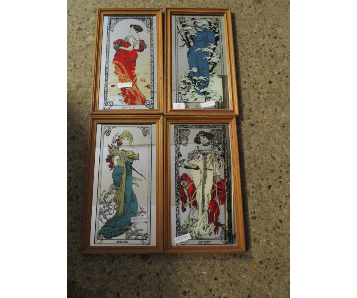 Lot 18 - FOUR REPRODUCTION PINE FRAMED PICTURES OF THE SEASONS
