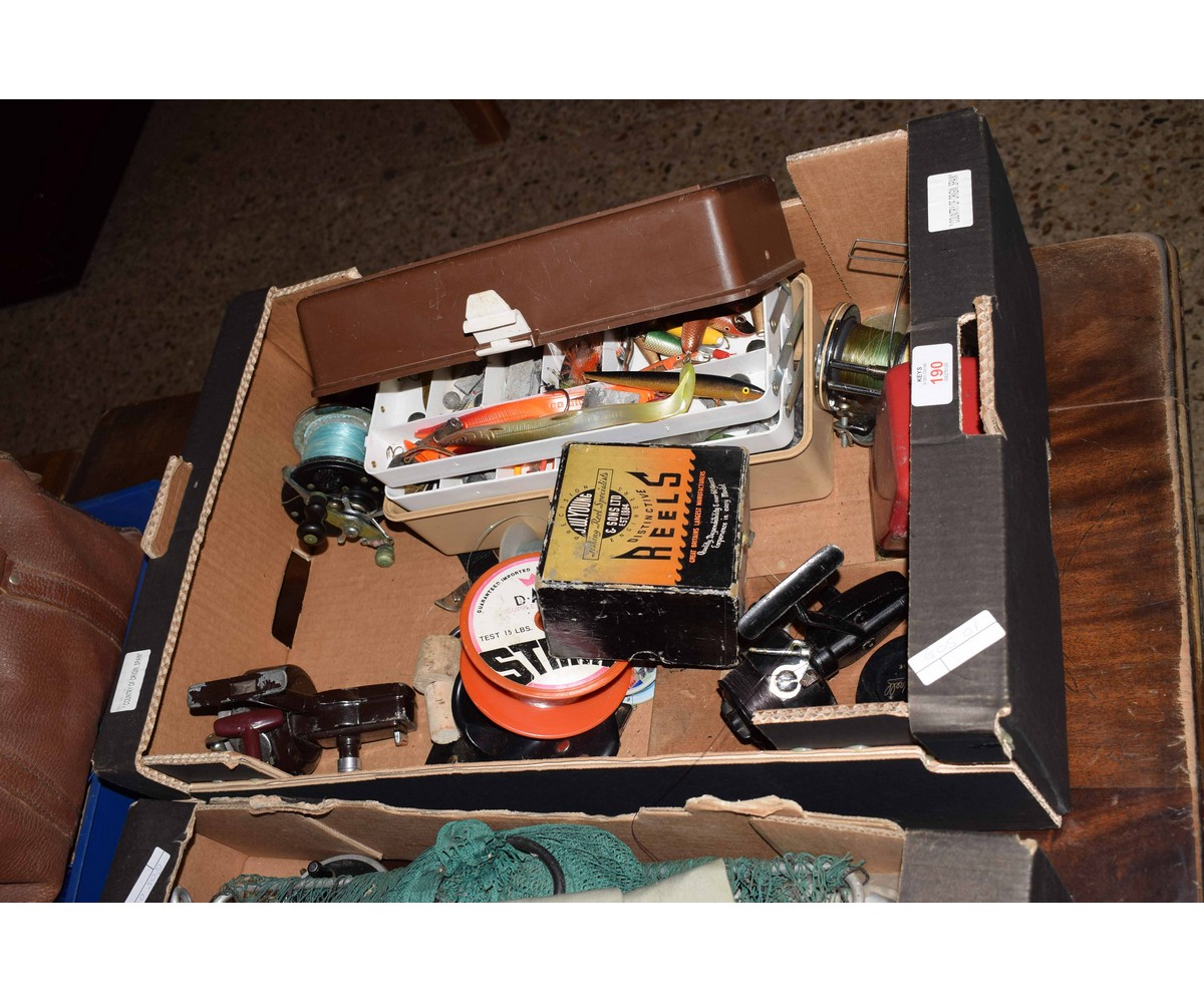 Lot 190 - BOX CONTAINING MIXED FISHING REELS, LURES ETC
