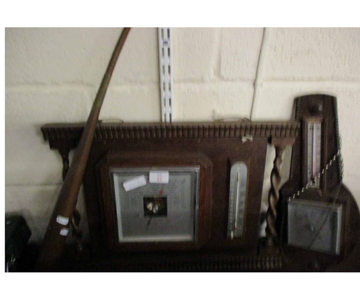 Lot 41 - OAK FRAMED WALL MOUNTED BAROMETER WITH BARLEY TWIST COLUMNS TOGETHER WITH A COPPER POST HORN AND A