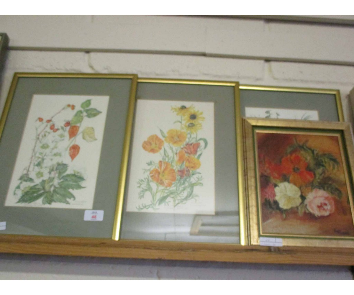 Lot 48 - GROUP CONTAINING AN OIL ON BOARD OF FLOWERS, WATERCOLOUR OF FLORAL STUDIES (5)