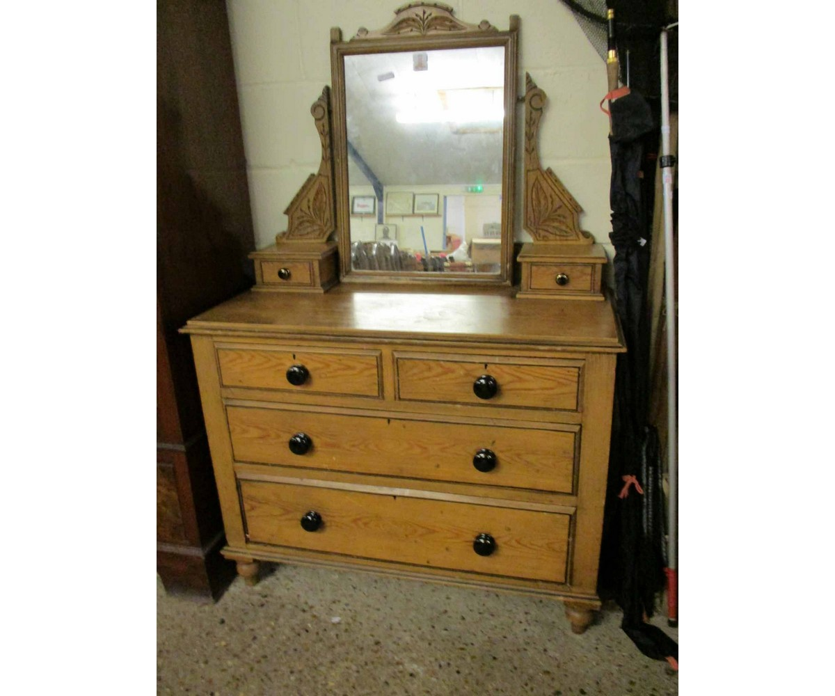 Lot 22 - PINE DRESSING CHEST WITH SHAPED MIRROR, THE BASE FITTED WITH TWO DRAWERS OVER TWO FULL WIDTH DRAWERS