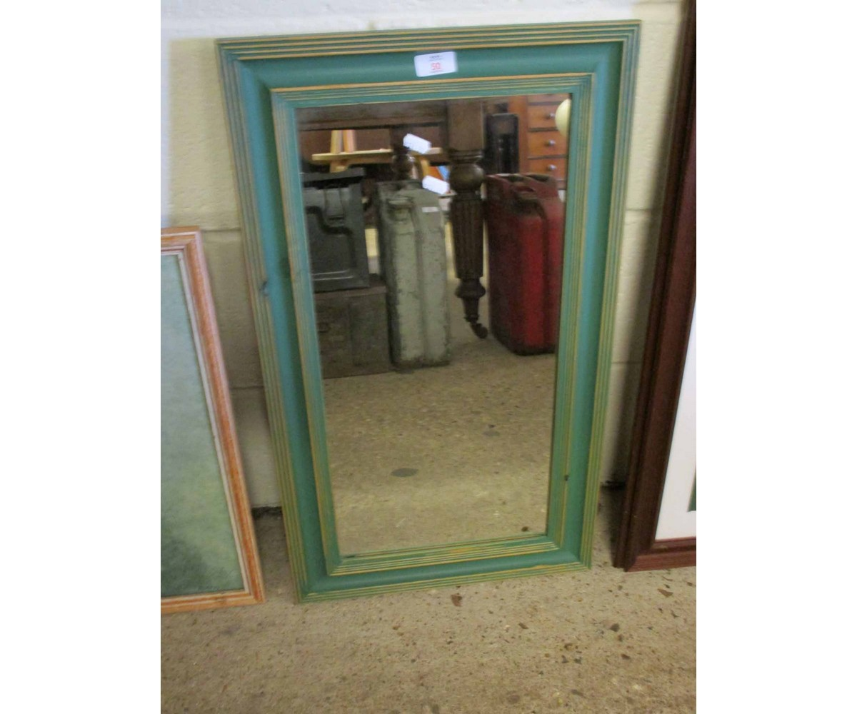 Lot 50 - GREEN PAINTED RECTANGULAR WALL MIRROR