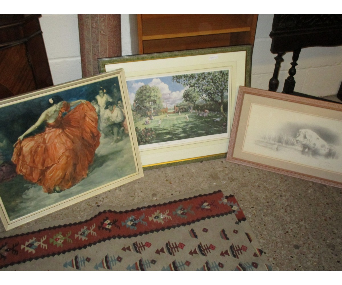 Lot 12 - PICTURE OF A FLAMENCO DANCER, A LIMITED EDITION PRINT OF A PIG AND A SIGNED TENNIS PRINT