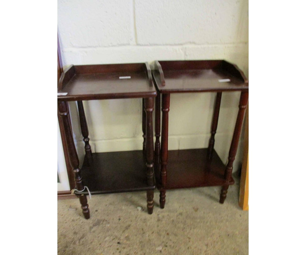 Lot 52 - TWO TEAK TWO-TIER BEDSIDE TABLES WITH TURNED SUPPORTS
