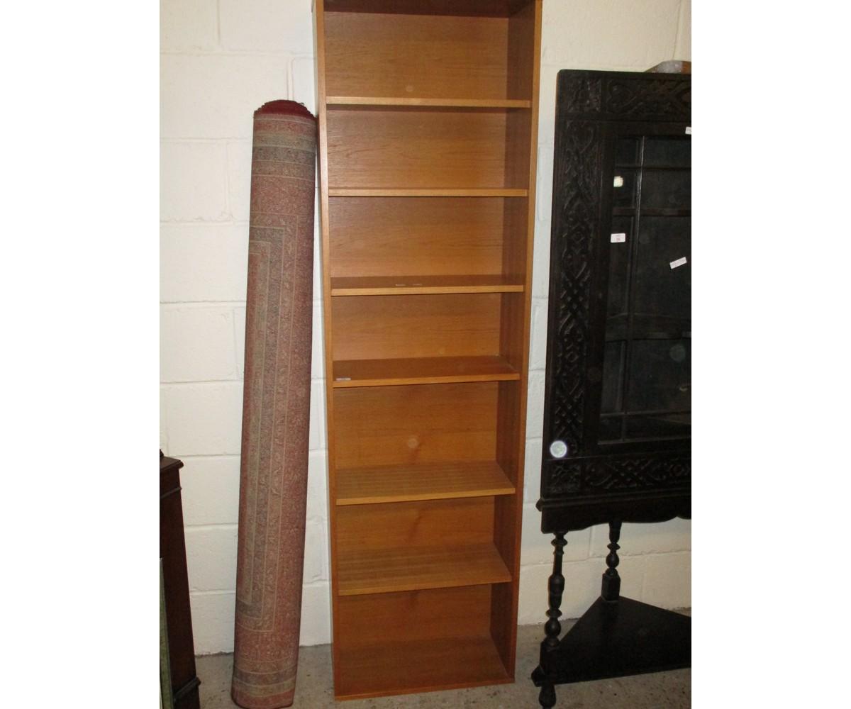 Lot 13 - TEAK FRAMED NARROW ADJUSTABLE SHELF BOOKCASE