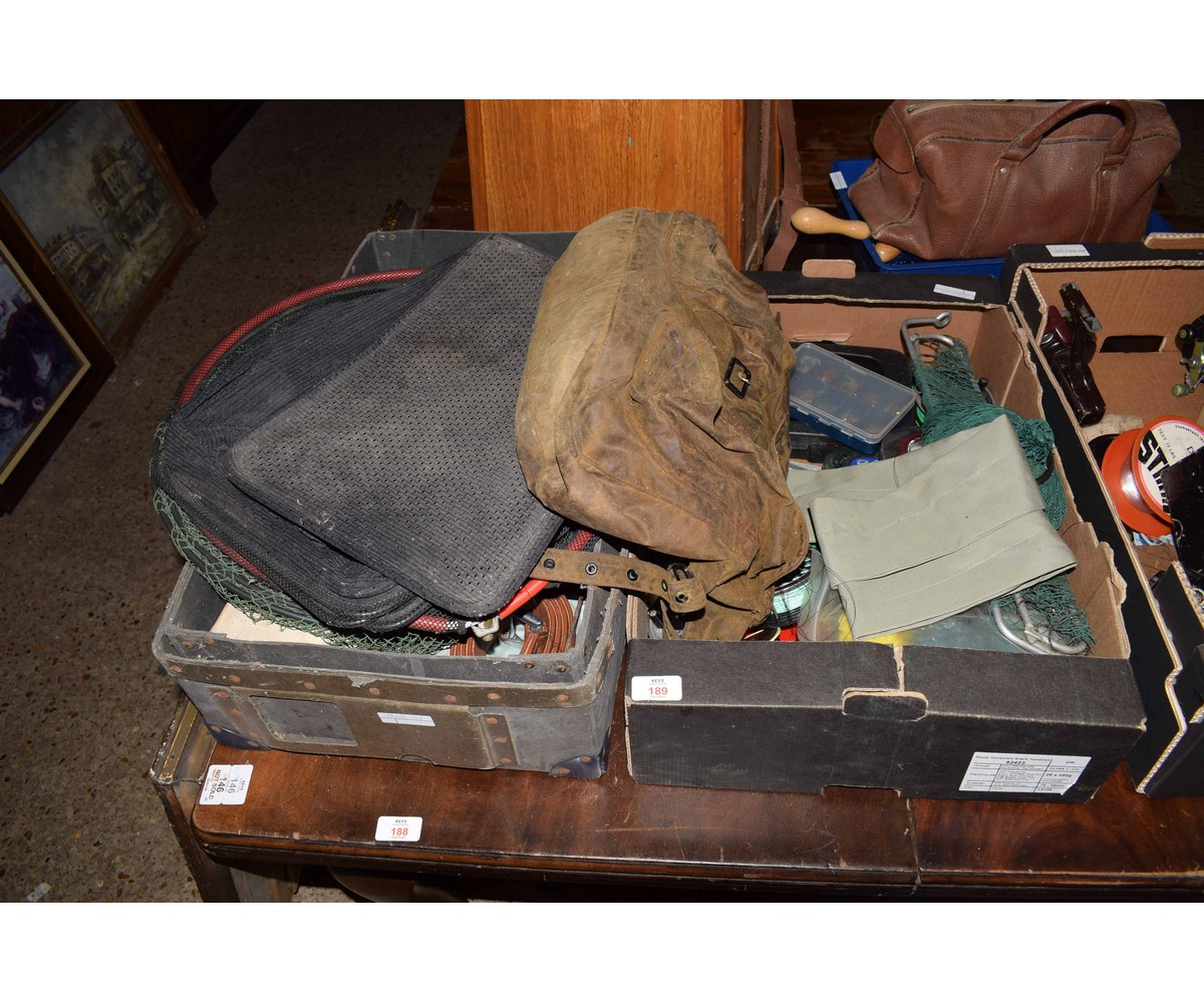 Lot 189 - TWO BOXES CONTAINING MIXED FLY FISHING REELS, NETS, BAG ETC