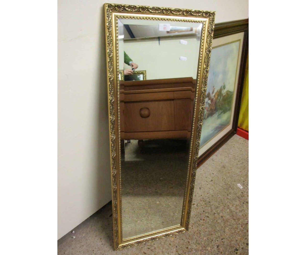 Lot 61 - GILT FRAMED RECTANGULAR WALL MIRROR WITH BEVELLED GLASS