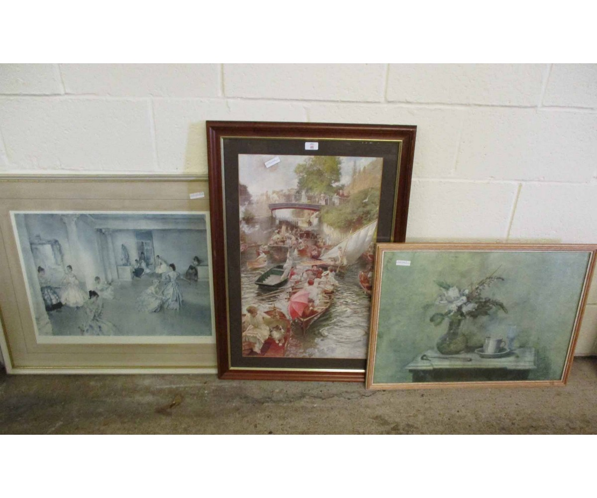 Lot 46 - SIGNED RUSSEL FLINT PRINT, A FURTHER PRINT OF A STILL LIFE AND ONE OTHER (3)