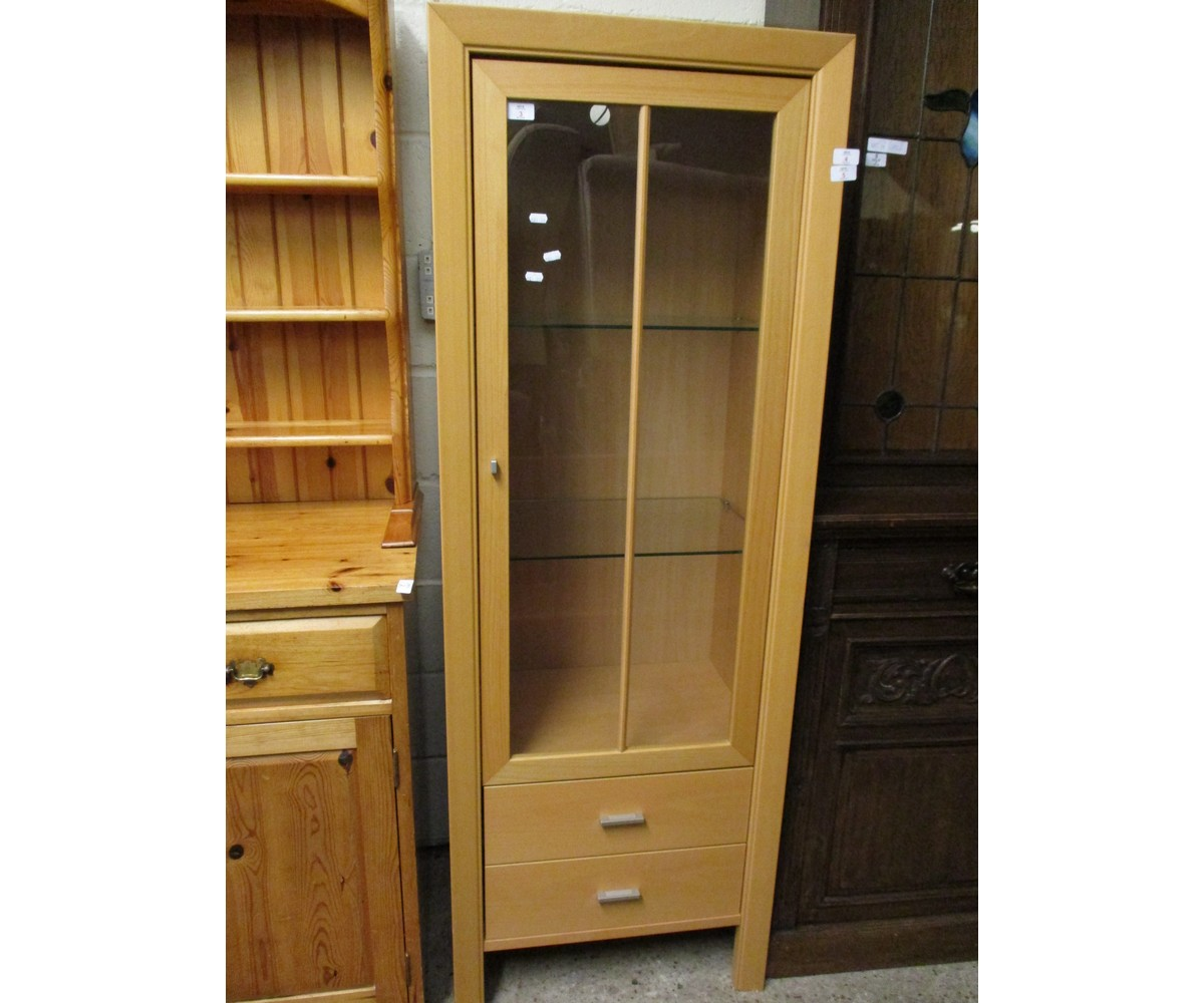 Lot 3 - BEECHWOOD EFFECT SINGLE GLAZED DOOR BOOKCASE WITH DISPLAY CABINET WITH TWO DRAWERS TO BASE