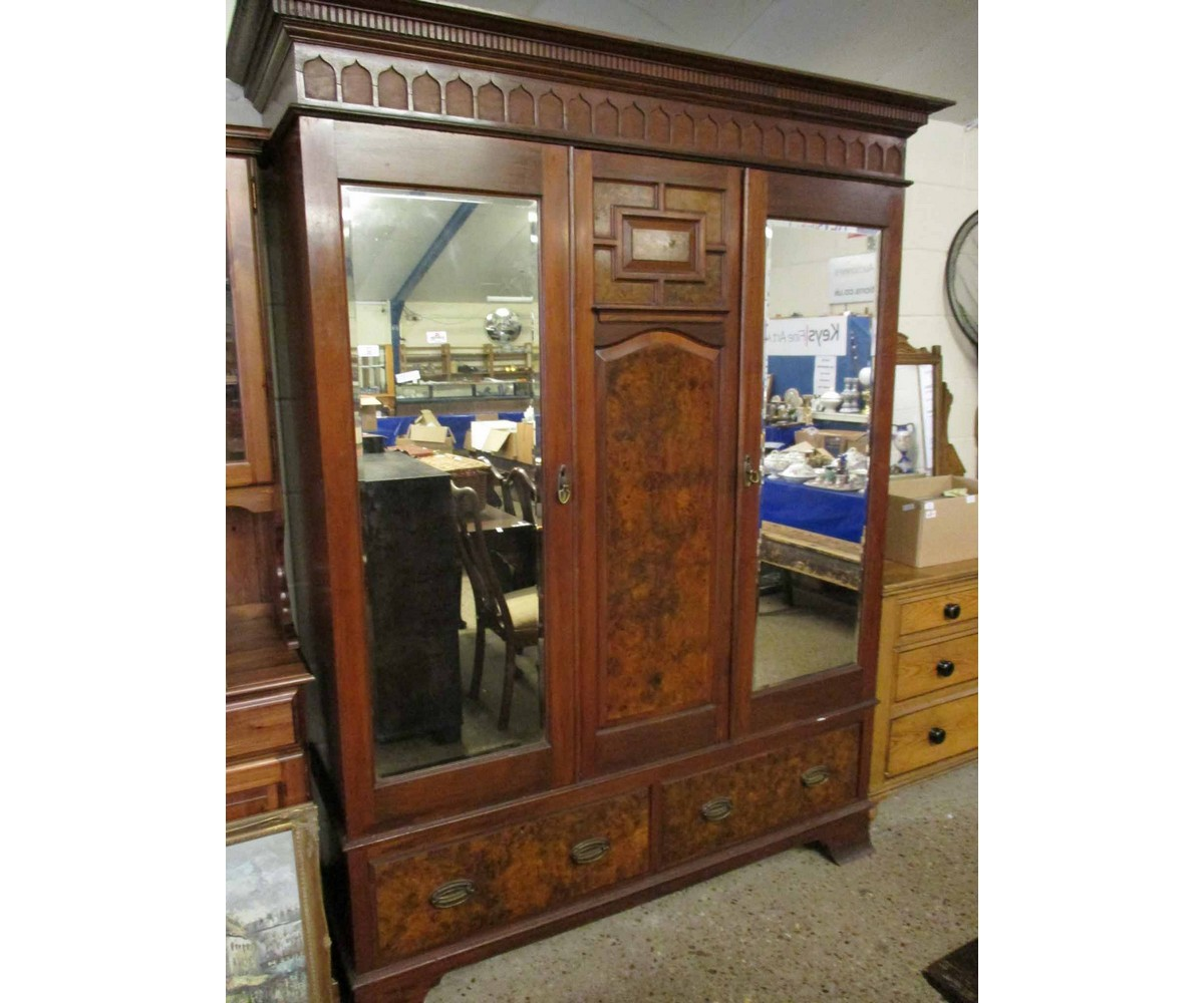 Lot 20 - WALNUT DOUBLE MIRRORED DOOR WARDROBE WITH TWO DRAWERS TO BASE