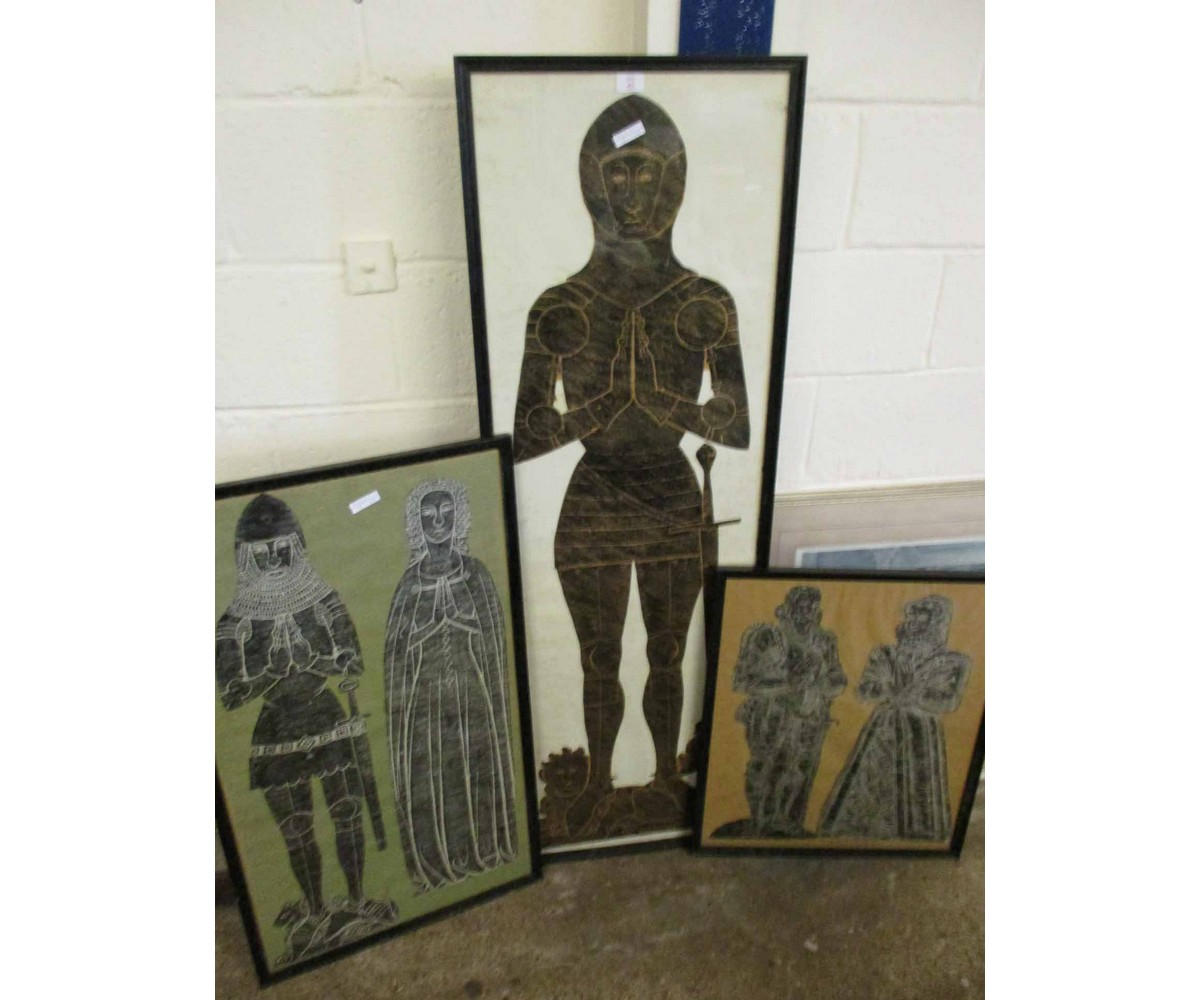 Lot 43 - THREE FRAMED PICTURES OF RUBBINGS