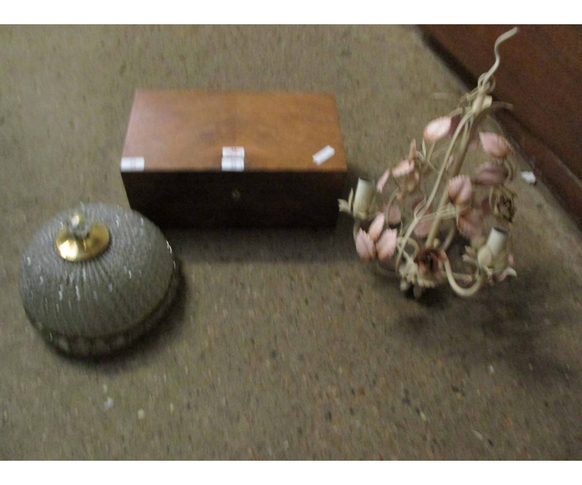 Lot 34 - MAHOGANY FRAMED TABLE TOP BOX AND TWO LIGHT FITTINGS