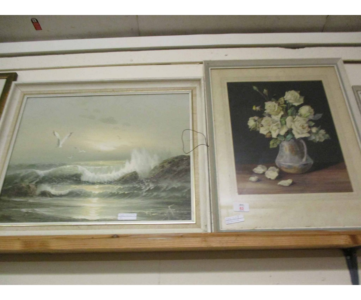 Lot 63 - WATERCOLOUR OF A STILL LIFE OF A JUG OF FLOWERS TOGETHER WITH A FURTHER OIL ON CANVAS OF A