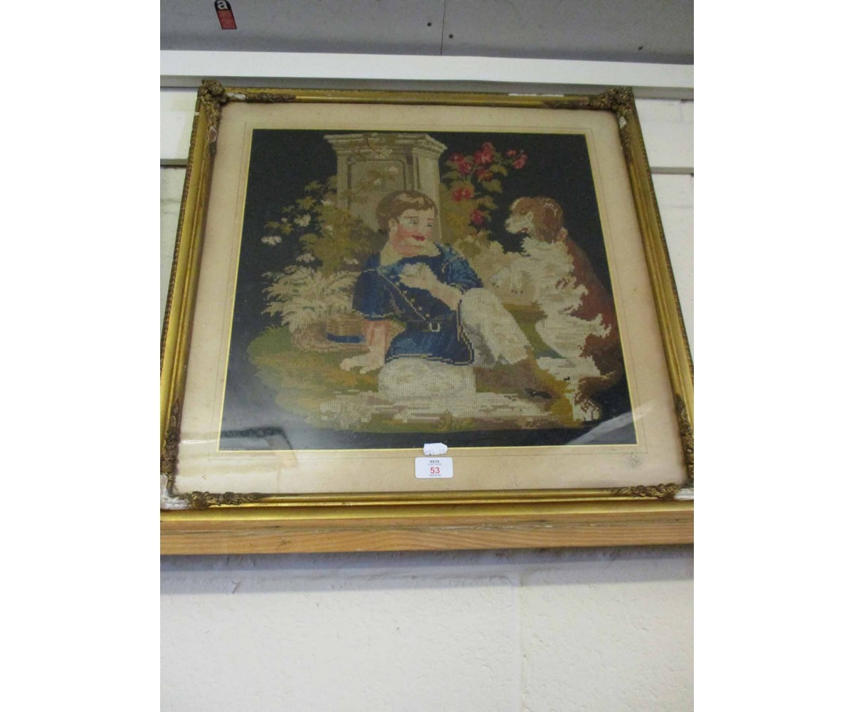 Lot 53 - VICTORIAN GILT FRAMED WOOL WORK OF A YOUNG CHILD AND HIS DOG