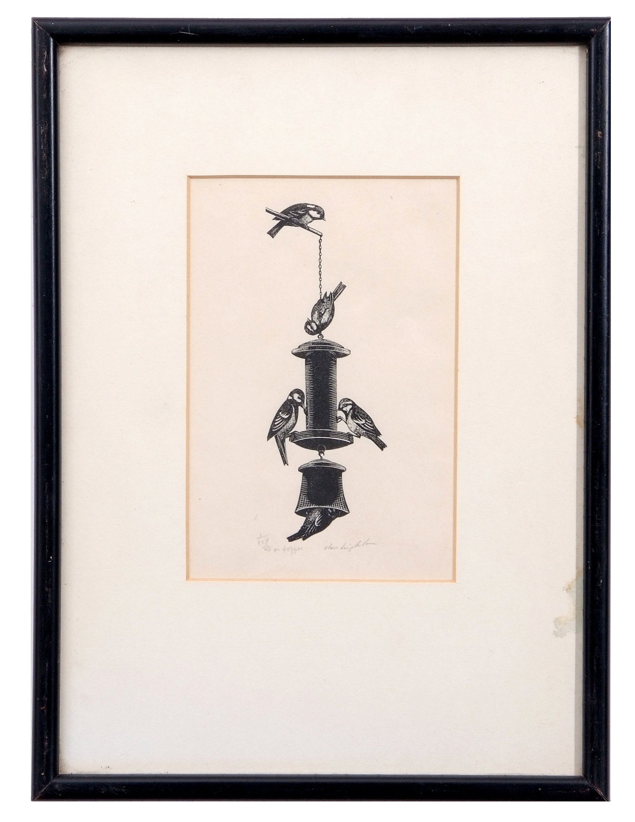 """Lot 116 - AR Clare Veronica Hope Leighton, SWE, ARE, RE (1898-1989 """"Tits on hopper"""" black and white woodcut,"""