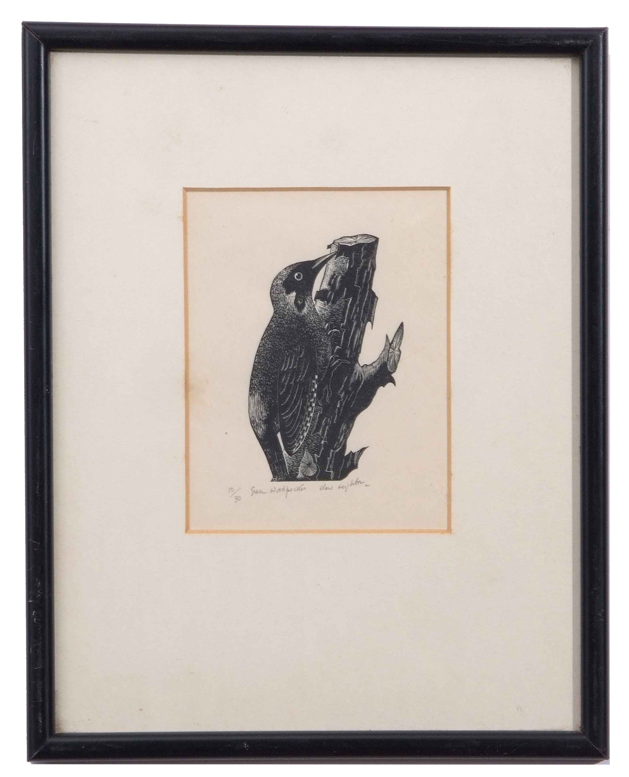 "Lot 114 - AR Clare Veronica Hope Leighton, SWE, ARE, RE (1898-1989 ""Green Woodpecker"" black and white woodcut,"