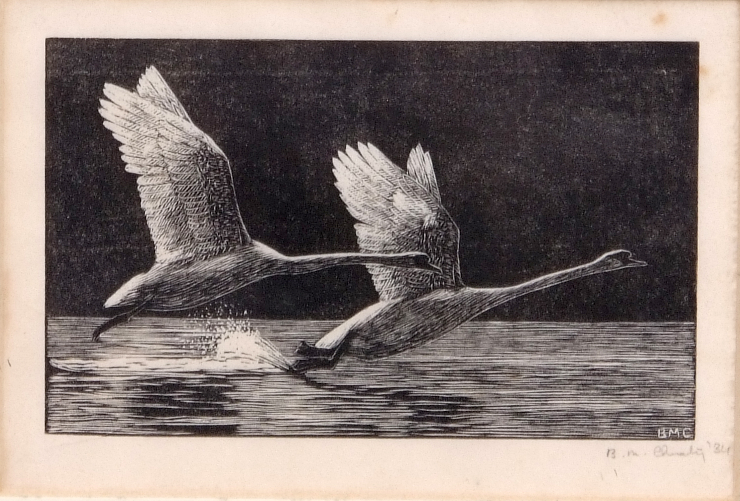 Lot 109 - British School (20th century) Swans alighting black and white woodcut, indistinctly signed and dated