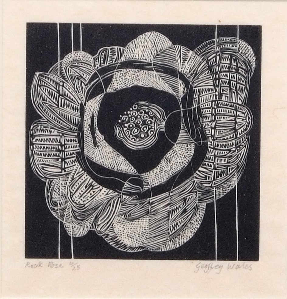 "Lot 107 - AR Geoffrey Wales (1912-1990 ""Rock Rose"" black and white woodcut, signed, numbered 4/25 and"
