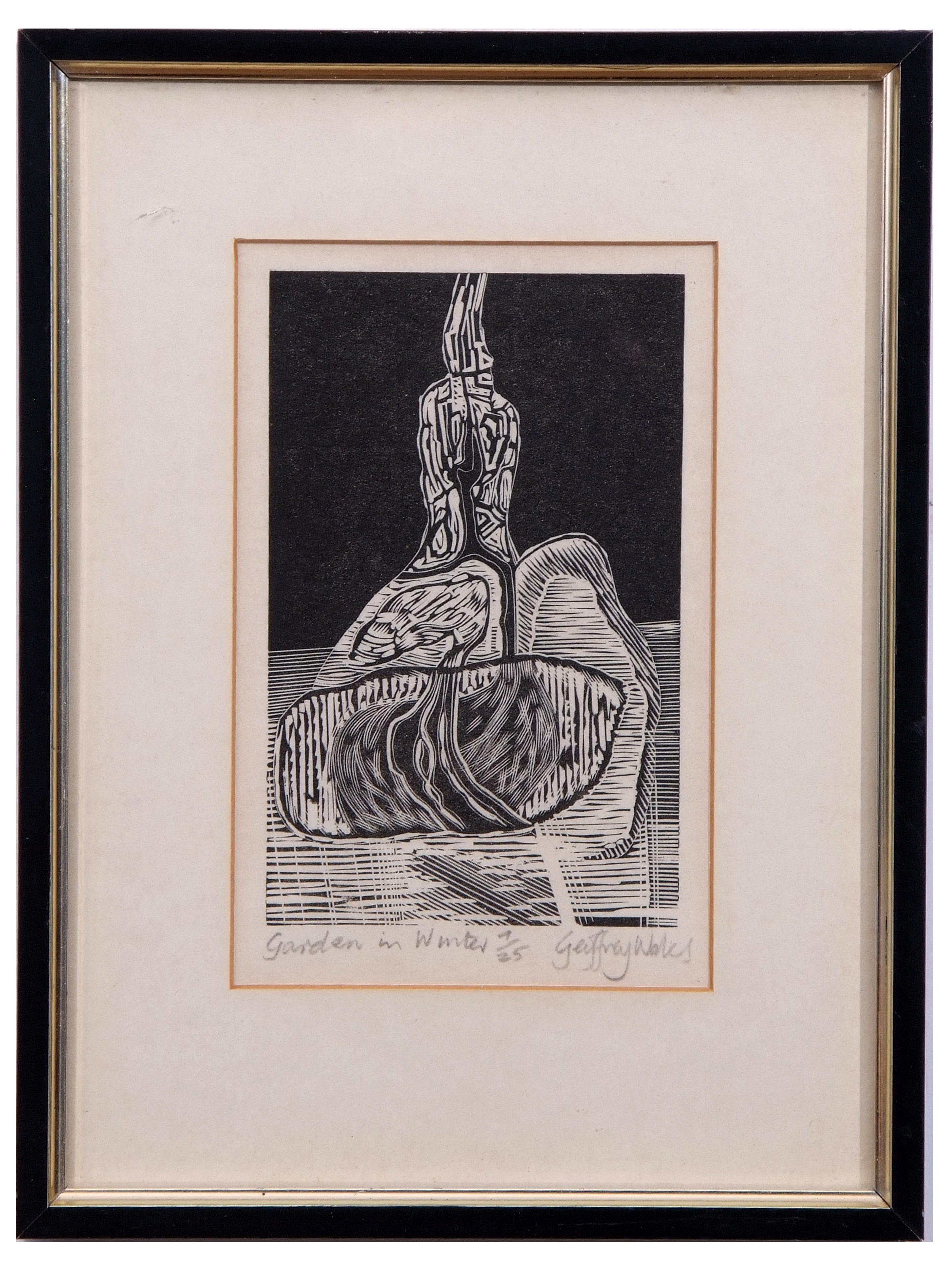 "Lot 108 - AR Geoffrey Wales (1912-1990 ""Garden in Winter"" black and white woodcut, signed, numbered 7/25 and"