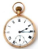 Gent's first quarter of 20th century hallmarked 9ct cased open faced pocket watch with button