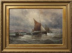 William Thornley (1857-1935) Shipping off a coast oil on canvas, indistinctly signed lower left,