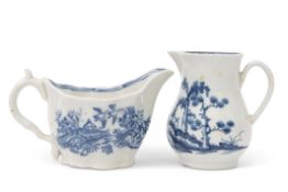 18th century Worcester Chelsea ewer shaped sauce boat with a printed floral pattern in blue,