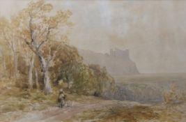 """Edmund Morison Wimperis (1865-1900) """"Harlech Castle"""" watercolour, initialled lower left, 33 x 50cm"""