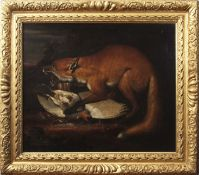 Attributed to Pieter Andreas Rysbraeck (1690-1748) Fox with game bird oil on canvas, 62 x 74cm
