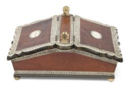 Anglo-Indian bone/ivory mounted decorative box of rectangular form of two sloping lifting covers