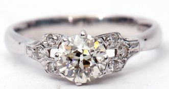 Single stone diamond ring, the brilliant cut diamond 0.75ct approx, multi-claw set and raised