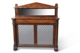 Regency rosewood chiffonier with raised back and open shelf with inset mirror and turned columns,