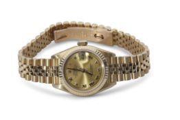 "Last quarter of 20th century ladies 18K cased Rolex Oyster Perpetual ""Datejust"" wrist watch,"