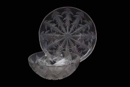 Lalique bowl moulded with thistles, together with a large Lalique dish, again moulded with