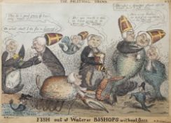 "After W Summers ""Fish out of water or Bishops without Sees - the political drama No 2"" hand coloured"