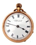First quarter of 20th century ladies 14K gold cased fob watch with blued steel hands to a white