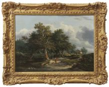 Edward Williams (1782-1855) Wooded landscape with figures oil on panel, 27 x 37cm Provenance:
