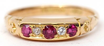 18ct gold ruby and diamond ring, alternate set with three graduated circular cut rubies and two