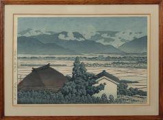 "Kawase Hasui (1883-1957) ""Mount Inari, Nagano"" coloured woodblock, 24 x 36cm"