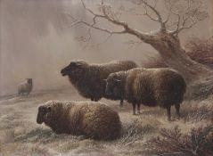 Charles Jones (1836-1892) Sheep in winter landscape oil on panel, monogrammed lower right, 17 x